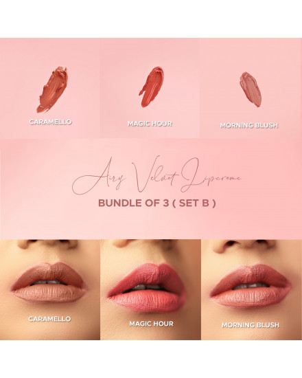 Bundle of 3 - Airy Velvet Lipcreme - Set B (Free pouch + mask)