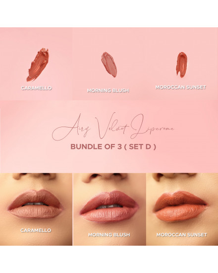 Bundle of 3 - Airy Velvet Lipcreme - Set D (Free pouch + mask)